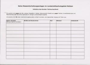 Unterschriftenliste Maststall Meilsen